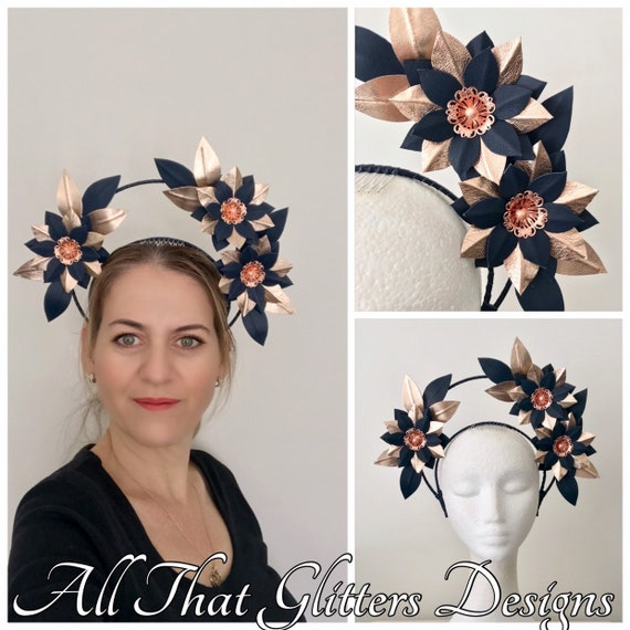 Navy   rose gold leather headband halo crown fascinator  FREE EXPRESS POST  bb81ae580dd