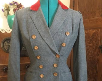 VTG 40s 1940s wartime suit jacket with contrasting trim and buttons / red and mustard size S