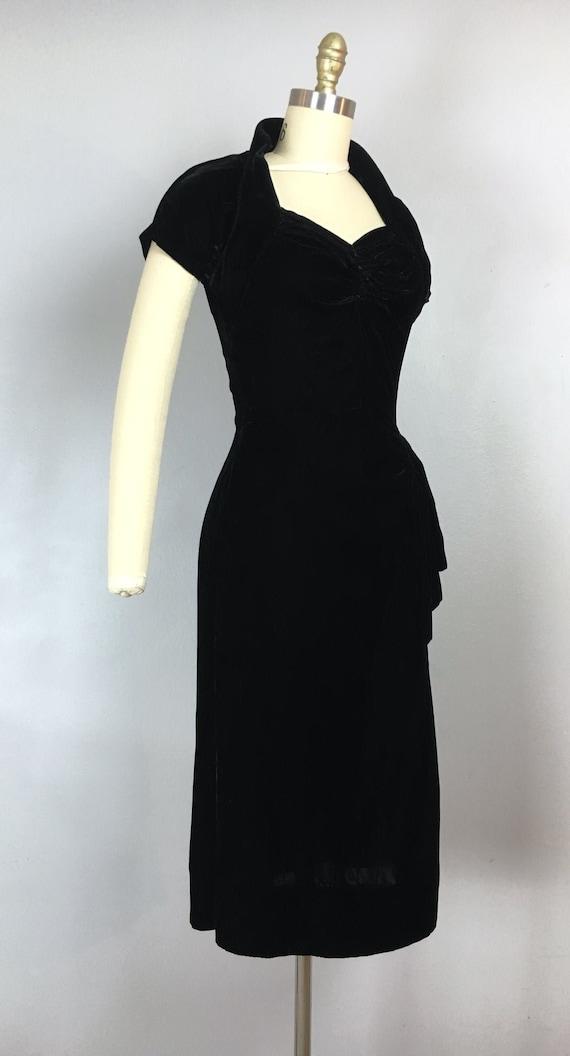 vintage 1940s black rayon velvet dress vintage got