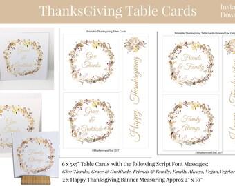 Thanksgiving Table Printables | Grattitude Cards | Blessings Cards | You Print Cards | Thanksgiving Printables | Printable Thanksgiving