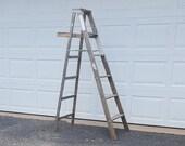 Vintage Wooden Ladder Garden Decor Outside Plant Stand Wooden Step Ladder Rustic Werner 6 39 Ladder Shelf Ladder Display Ladder