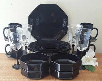 Black arcoroc dishes | Etsy
