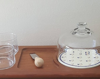 Cheese Dome Glass Cloche Enamel Base Extended Teak Tray with 2 Side Bowls and Cheese Knife