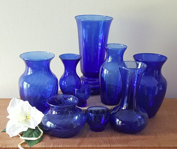 Wedding Vases Cobalt Blue Vases Set Of 9 Assortment Of Sizes Etsy