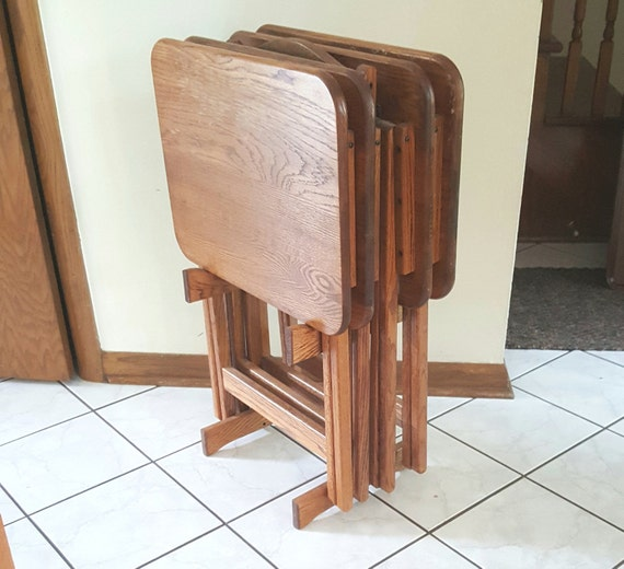 Vintage Tv Trays Oak Wood Folding Tray Tables With Stand Tv Etsy