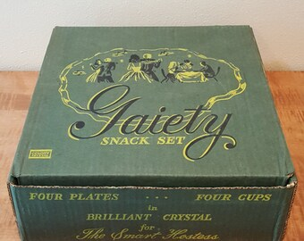 "Vintage Snack Set Colony Glass 1950s ""Gaity"" Brilliant Crystal for the ""Smart Hostess"" 4 Sets in Original Box"