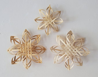 Vintage Large Bamboo Snowflakes for Winter Decor