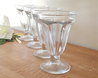 4 Large Glass Ice Cream Cups by Libbey
