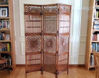 Vintage Folding Privacy Screen Home Office Partition Room Divider