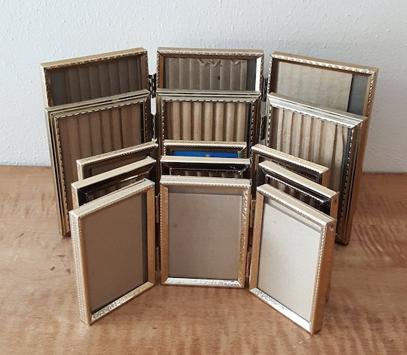 Tri Fold Hinged Gold Metal Picture Frames 3 12 X 5 3 12 X Etsy