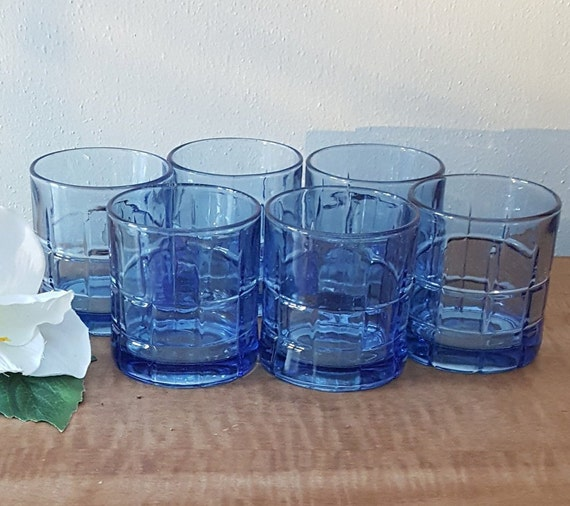 Vintage Anchor Hocking Tartan Plaid Blue Highball Glasses Excellent SET OF 3