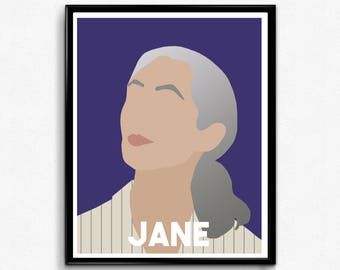 Jane Goodall Feminist Portrait- Feminist Wall Art, Gifts for Her