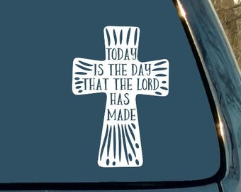 Christian Decal, Bible, Today Is the Day That the Lord Has Made, Scripture, Religious, Car Decal, Laptop Sticker, Gift
