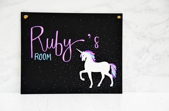 Personalised Unicorn en Bois Chambre à Coucher Porte Signe//Plaque-Enfant Chambre