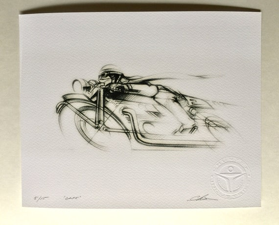 Vintage Cafe Racer Motorcycle Drawing Etsy