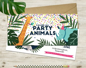 Party Animals Long Birthday Invitation