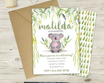Children's Koala Birthday Invitation