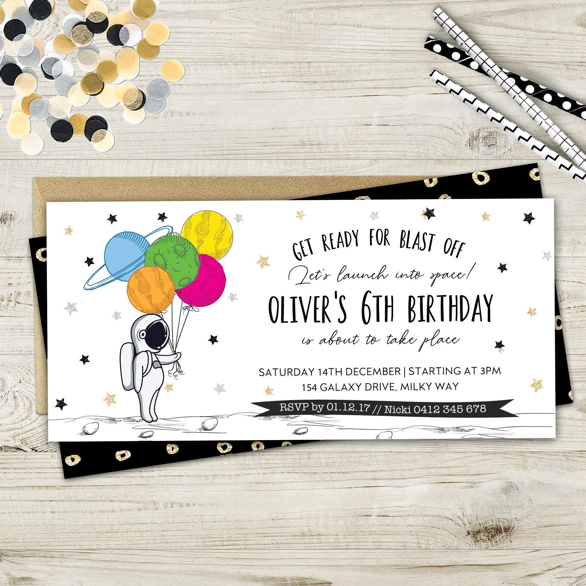 Outer Space Printable Birthday Party Invitation | Etsy