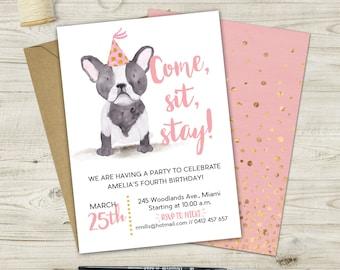 Watercolor French Bulldog Invitation