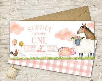 Long Printable Farm Invitation (multiple color options)