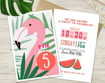 Flamingo Birthday Invitation (Double Sided)