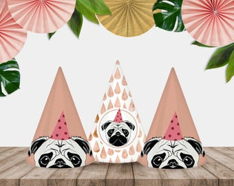 "Printable ""Party Pug"" Party Hats"