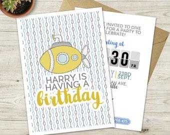 Yellow Submarine Nautical Birthday Invitation