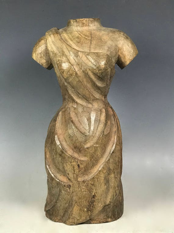 Vintage Carved Solid Wood Paper Mache Mold of Dress Form