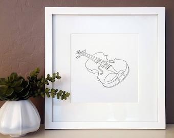 violin drawing etsy