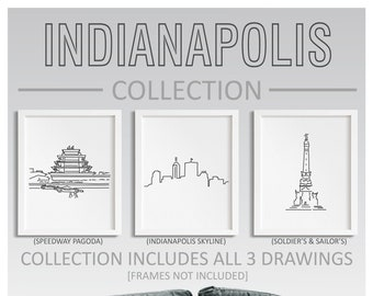 Indianapolis Indiana Collection - Set of 3 Art Bundle - Line Art Drawing Unframed Print