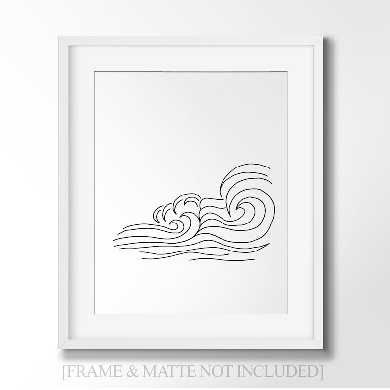 Ocean Waves Line Art - Minimalist Wall Art Drawing