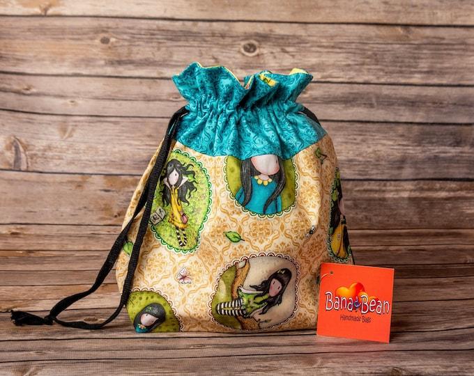 Drawstring Bag - Summer Birdhouses