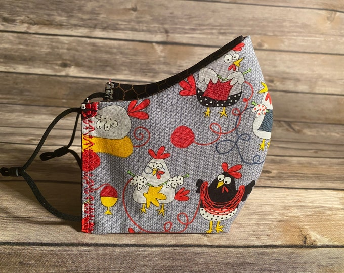 Knitting Chickens Reversible Face Mask - Made to Order with Matching Bag