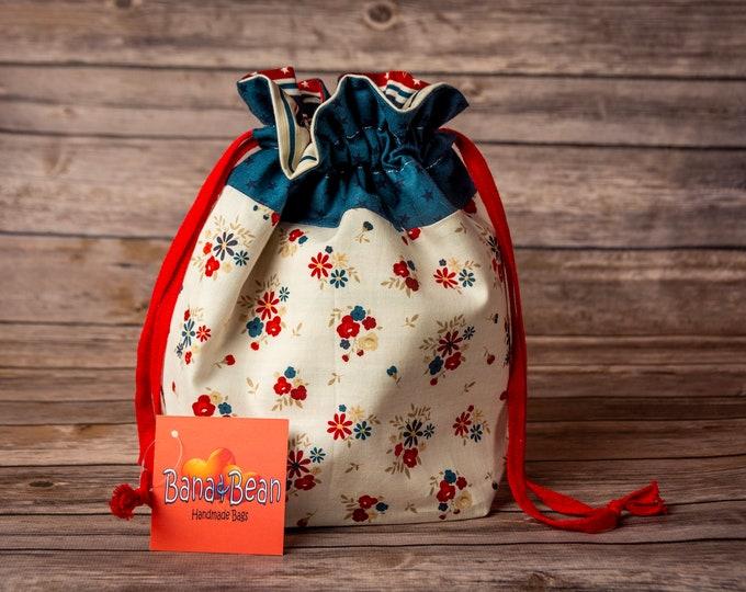 Drawstring Bag - Stars, Stripes, & Flowers