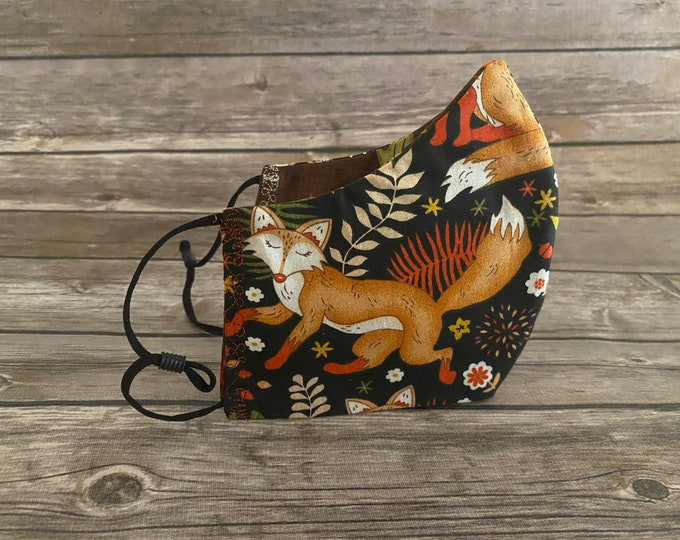 Foxes Reversible Face Mask & Matching Bag - Made to Order