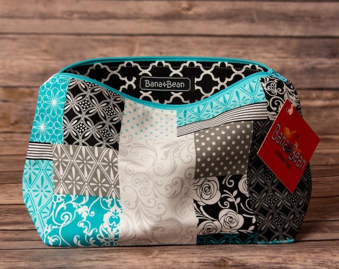 Zippered Bag - Blue Patchwork