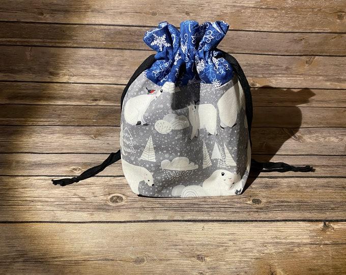Drawstring Bag - Polar Bear Winter Fun