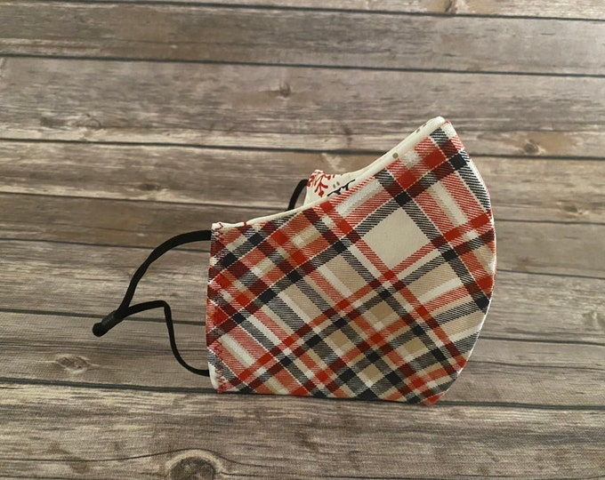 Red Plaid Reversible Face Mask & Matching Bag - Made to Order