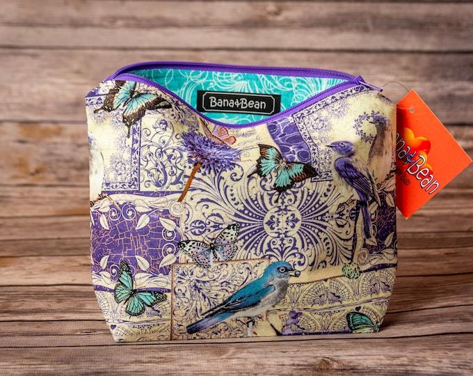 Zippered Bag - Birds & Butterflies