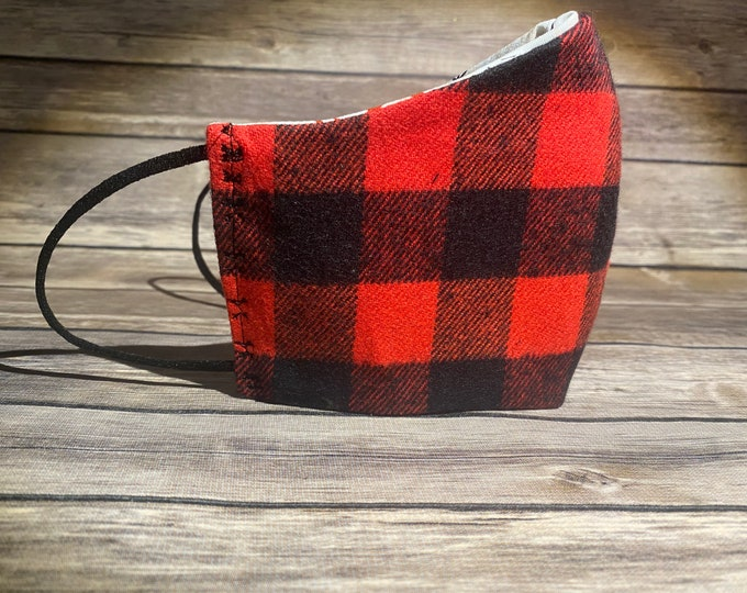 Red Buffalo Plaid Reversible Face Mask & Matching Bag - Made to Order