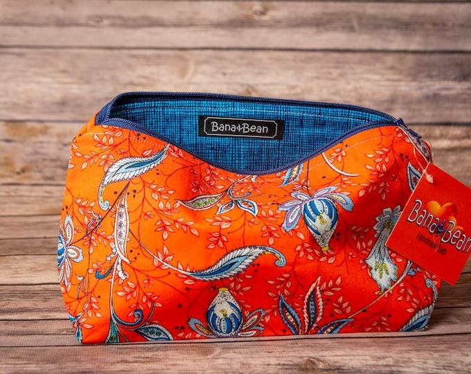 Zippered Bag - Blue Flowers