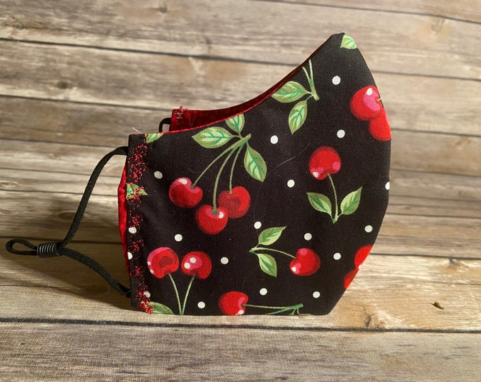 Cherries Reversible Face Mask - Made to Order with Matching Bag