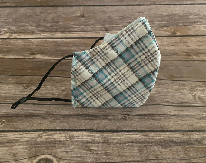 Blue Plaid Reversible Face Mask & Matching Bag - Made to Order