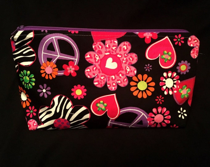 Peace, Love, and Zebras - Made to Order Wedge Style Zippered Bag