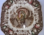 Johnson Bros His Majesty pattern 7 1 2 quot square plate with colorful turkey.