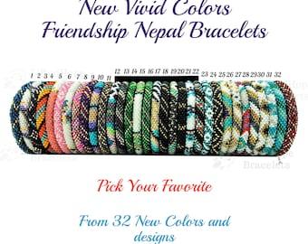 New Vivid Color Nepal Bracelets. Pick Your Favorite from 32 Different Color Seed Beads Friendship Boho Bracelets