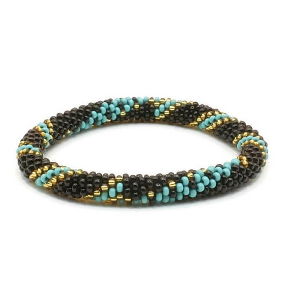 Handmade In Nepal Glass Bead Roll On Bracelet Crocheted Etsy