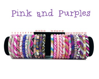 Pink and Purple Colors Pattern Nepal Bracelets. Seed Beads Bracelets. Pick your Favorite One