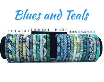 Blues and Teals Themed Nepal Bracelets. Pick Your Favorite Color Seed Beads Bracelets. Wholesale Rolling Bracelets