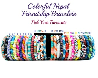 Colorful Nepal Bracelets. Pick Your Favorite from 30 Different Color Seed Beads Friendship Boho Bracelets